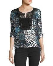 NWT $350 Elie Tahari Milan Beaded Lace Blouse SizeM Floral Silver Black Metallic