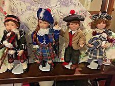 Complete Collectable set of 4 Little Scotts Porcelain Dolls by Karen Scott
