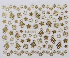 Christmas Nail Stickers Xmas Tree Star DIY Self Adhesive GOLD BLE 130J - uk