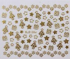 Christmas Nail Stickers Xmas Tree Star DIY Self Adhesive GOLD BLE 130J - uk