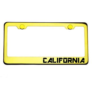 Gold Chrome License Plate Frame CALIFORNIA Laser Engraved Metal Screw Cap