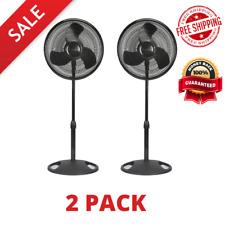 "16"" Adjustable Oscillating Pedestal Fan Stand Floor 3 Speed Home Black white"