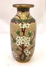 Chinese Antique Brass Cloisonne Enamel Famille Rose Vase