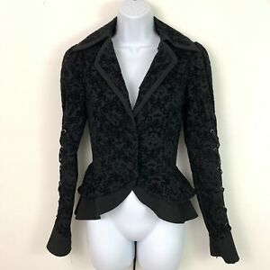 Disney Nightmare Before Christmas Black Flocked Lace-Up Hot Topic Jacket XS