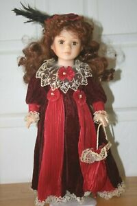 "17"" Brunett Doll  with burgandy dress"