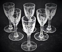 Vintage Sasaki, Wheat pattern, multi-sided stem, wine glass, set of 6