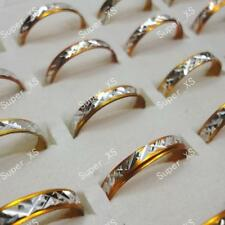 100pcs Yellow Gold aluminum Alloy Rings Wholesale mix Jewelry Free Shipping BFP