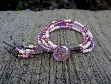 Pink & Pearl Czech Seed Bead Distressed Gray Leather w/ Pink Dragonfly button