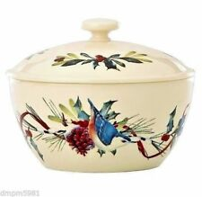 Lenox WINTER GREETINGS Small Covered Casserole Nuthatch Chickadee NEW IN BOX