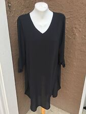 New Soldout! Chico's High Low Long Black Tunic Top 3 = XL 16 18 NWT 4 XXL 20 22