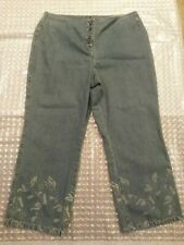 I. E Relaxed Size 14 Blue Jean Woman Design on Legs and Top Back no waist Band