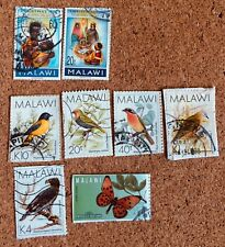 Malawi Stamps 8 assorted (1996 Xmas, Birds, Butterfly) Backed.