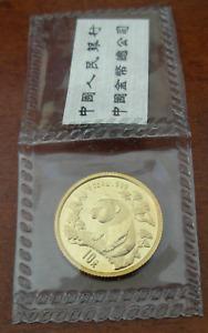China 1997 Gold 1//10 oz Panda 10 Yuan Original Mint Sealed BU Rare