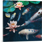ARTCANVAS Red White Koi Carp Fish Pond Leaves Lotus Flower Canvas Art Print
