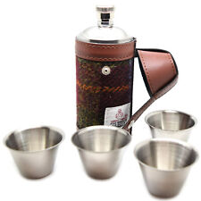 8oz Harris Tweed Covered Hunting Flask with Four Steel Cups Set (3500-59)