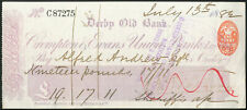More details for crompton & evans union bank limited, derby old bank, used cheque 1882