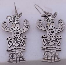 Smiling Cactus Sherif Man Signed Odd Large Sterling Silver Whimsical Earrings