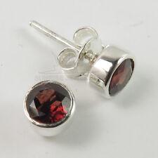 Stud Post Lovely Earrings Natural GARNET Gemstones 925 Solid Sterling Silver