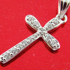 YF92 GENUINE HALLMARKED REAL 925 STERLING SILVER DIAMOND SIMULATED CROSS PENDANT