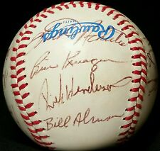 1984 OAKLAND ATHLETICS Team SIGNED Baseball RICKEY HENDERSON Auto hof Joe Morgan