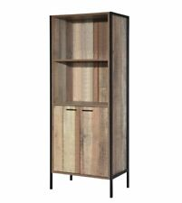 Kurt industrial style 2 door bookcase with 2 shelves wood effect and metal