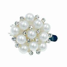 Magnet Hair Clip Rhinestone Crystal Hairpin Barrette Elegant Pearl Silver Stud