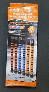 6pc Socket Organizer Mountable Sliding Holder Rail Rack Tool Storage 1/4 3/8 1/2
