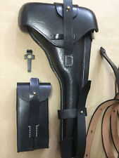 """Luger P-08 8"""" inch Artillery Holster w. Stock Straps BLACK LEATHER Takedown Gift"""