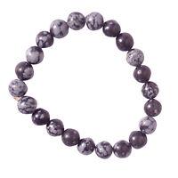 Snowflake Obsidian Stone Chakra Healing Beaded Bracelet Reiki Prayer Stone Gift