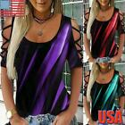 Womens Printed Cold Shoulder T Shirt Ladies Casual Short Sleeve Blouse Tops Tee