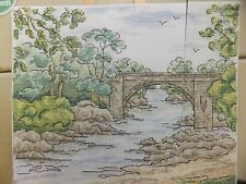 Watercolor Landscape Down by the River Pattern/Chart in/for Counted Cross Stitch