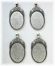 4 Antiqued Silvertone Regal 40mm x 30mm CAMEO Costume PENDANTS Frames Settings