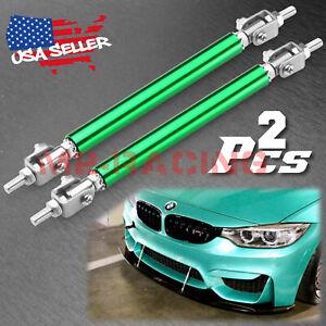 "Green 6""-8"" Adjustable Front/Rear Frame Bumper Lip Splitter Strut Rod Support"
