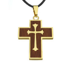 Mens gold wood effect stainless steel cross on 3mm leather thong cord necklace