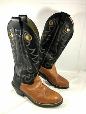 Men's Durango Western Boots Brown & Black Leather Buckaroo Tall Sz 9 D
