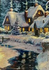 New listing 4 Christmas Gorgeous !Cards By Thomas Kinkade With Glitter!