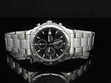 Seiko SNDB35 Chronograph Black Dial Date Stainless Steel Men's Watch $300