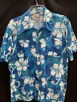 Vtg 70s Paul Howard 4 Pocket Bark Cloth Pineapple Hawaiian Shirt~Large