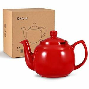 Urban Lifestyle Teekanne Klassisch Englische Form aus Keramik Oxford 1,2L (Rot)
