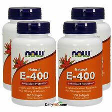 NOW Foods 100% Natural Vitamin E-400 IU Mixed Tocopherols Selenium 100 Softgels
