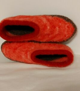 Handmade knit felted 100% wool woman's slippers size 8- 8.5 bootie clog shoes