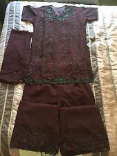 Asian suit indian suit girls suit jumper with trouser dark purple M