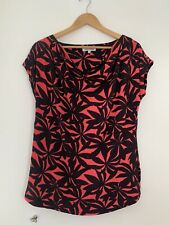 Ladies Blouse Debenhans 16 Pink Black Cotton Short Sleeve <JS2864