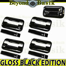 2004-2014 Ford F150 Crew GLOSS BLACK Door Handle COVERS w/PsgrKH+Tailgate w/ Cam