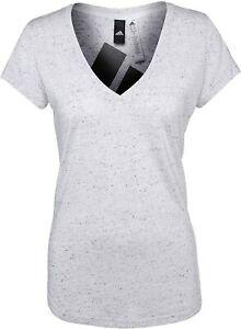 adidas Women's Winners Short Sleeve Melange V-Neck T-Shirt, White, Large