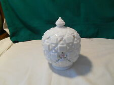Beautiful Westmoreland White Quilted Covered Dish w Flowers