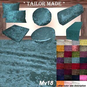 Mv18 D-Teal Crushed Velvet Seat Patio Bench 3D Box Cushion Bolster Cover/Runner