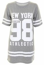 New Womens Ladies NewYork 98 Brooklyn Stripe Print Oversized Baggy T Shirt Top
