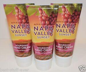 3 BATH & BODY WORKS NAPA VALLEY SUNSET NOURISHING HAND CREAM LOTION SHEA BUTTER