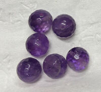 40 Carats 10mm Faceted AMETHYST Gemstone BEADS Lot (#L6477)